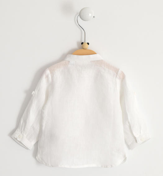 Long-sleeved 100% linen baby boy shirt from 0 to 24 months Minibanda BIANCO-0113