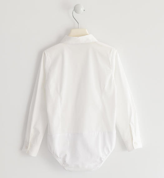 Body shirt in poplin and jersey in the lower part for baby girls from 6 months to 7 years Sarabanda BIANCO-0113