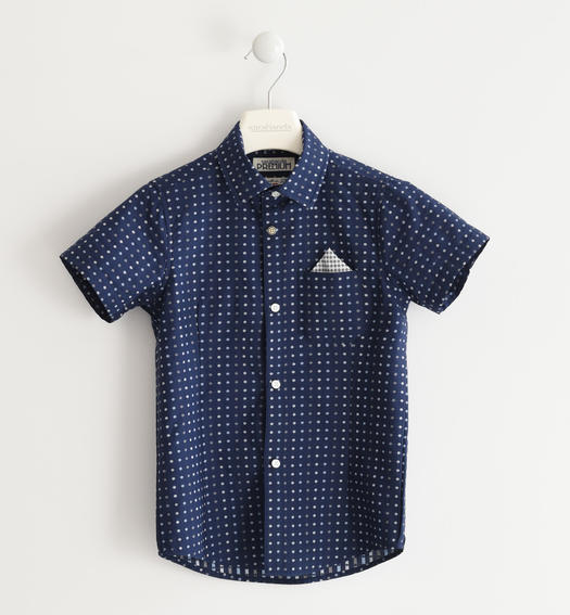 Classic shirt with short sleeves 100% cotton for boy from 6 to 16 years Sarabanda NAVY-3854
