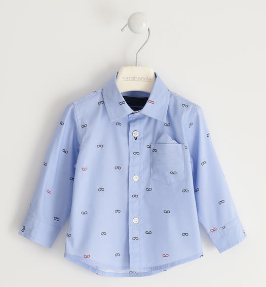 Sarabanda classic shirt with micro pattern for boy from 6 months to 7 years AZZURRO-NAVY-6MN6