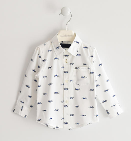 Sarabanda classic shirt with micro pattern for boy from 6 months to 7 years BIANCO-NAVY-6MN7
