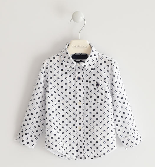 Classic shirt in all over polka dot pattern for boy from 6 months to 7 years Sarabanda BIANCO-BLU-6MQ1