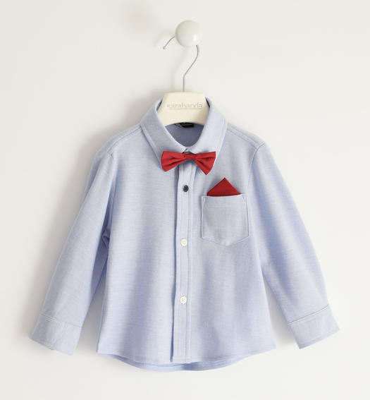 Classic pique shirt with pochette and bow tie for boy from 6 months to 7 years Sarabanda AVION-3621
