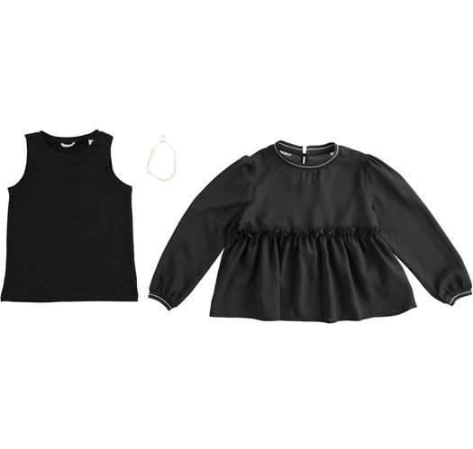 Two piece shirt with necklace for girls from 6 to 16 years Sarabanda NERO-0658