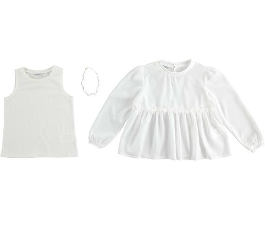 Two piece shirt with necklace for girls from 6 to 16 years Sarabanda PANNA-0112