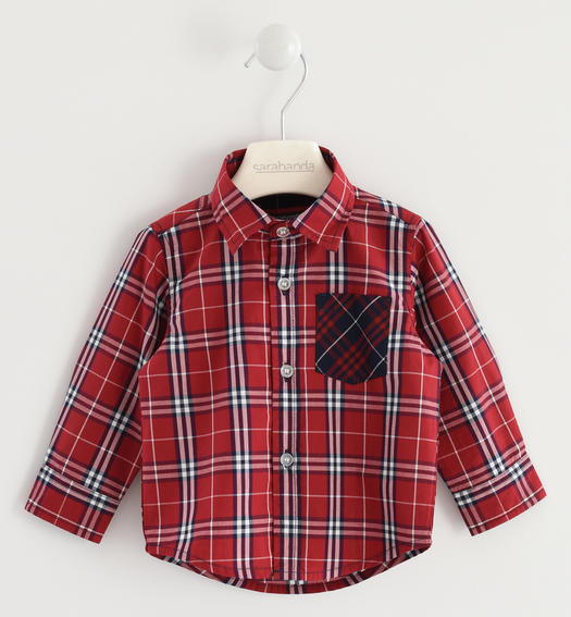 Shirt made of 100% checked cotton poplin for baby boys from 6 months to 7 years Sarabanda ROSSO-2536