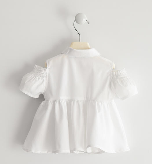 Poplin shirt with flared fit for baby girl from 6 months to 7 years Sarabanda BIANCO-0113