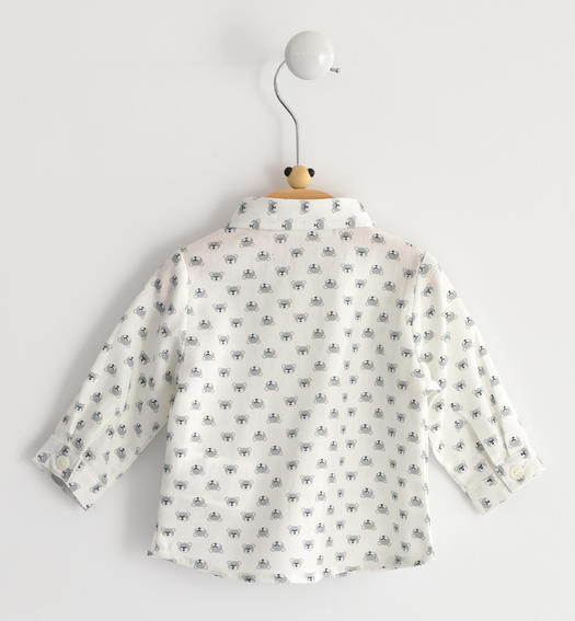 Shirt with allover bear fantasy for newborn from 0 to 24 months Minibanda PANNA-GRIGIO-6LE4