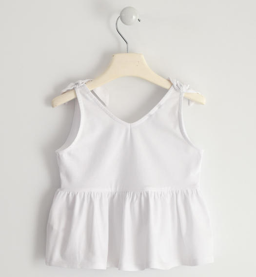 Jersey tank top with knots for girl from 6 to 16 years Sarabanda BIANCO-0113