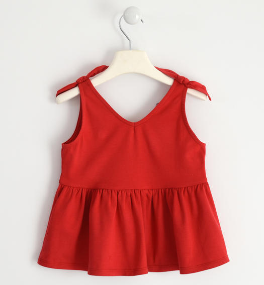 Jersey tank top with knots for girl from 6 to 16 years Sarabanda ROSSO-2256