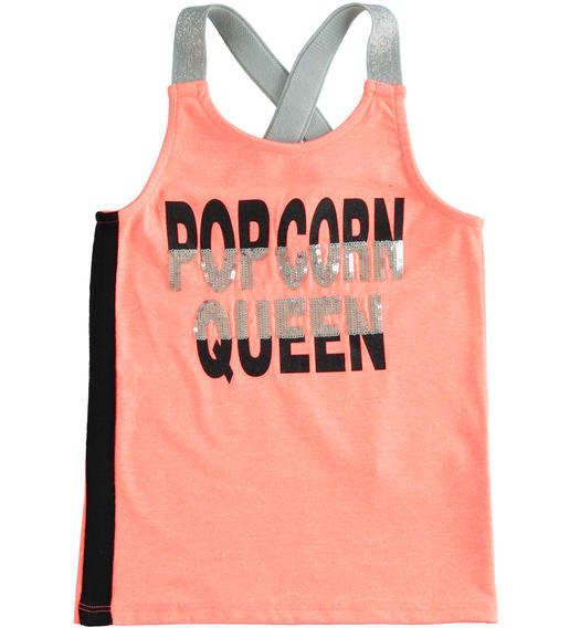 Sarabanda super fashion tank top with sequins and lurex straps for girl from 6 to 16 years CORALLO FLUO-5824
