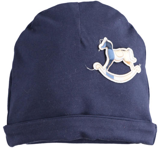 Newborn cap of super soft blue stretch cotton for baby boy from 0 to 24 months Minibanda NAVY-3854