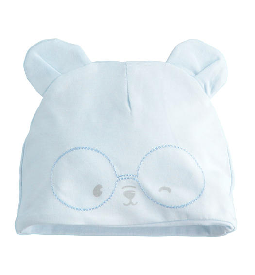 Soft stretch cotton newborn cap with nice ears for baby boy from 0 to 24 months Minibanda SKY-5818
