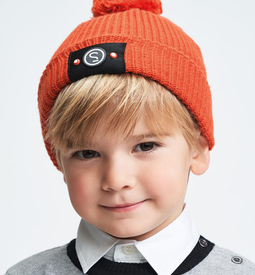 Sarabanda tricot hat cap model with pompons for baby boys from 6 months to 7 years ARANCIO-1828
