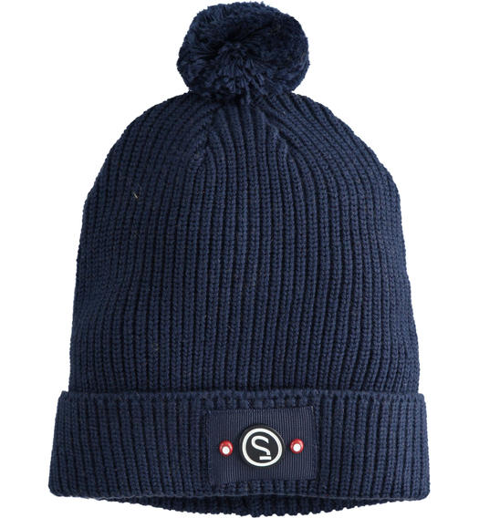 Sarabanda tricot hat cap model with pompons for baby boys from 6 months to 7 years NAVY-3885