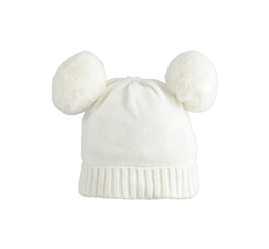Carry-over tricot skullcap with faux fur pompon for newborn from 0 to 24 months Minibanda PANNA-0112
