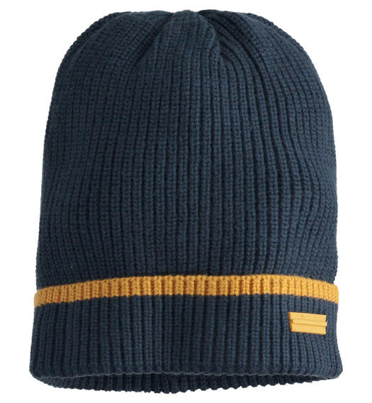 Beanie hat with ribbed knit for boy from 6 to 16 years Sarabanda NAVY-3885