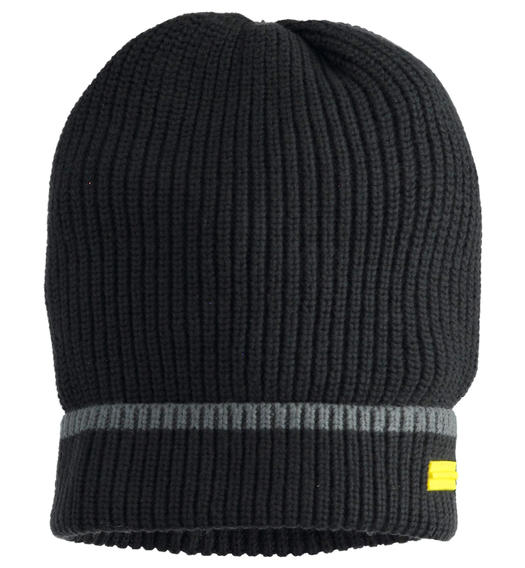 Beanie hat with ribbed knit for boy from 6 to 16 years Sarabanda NERO-0658