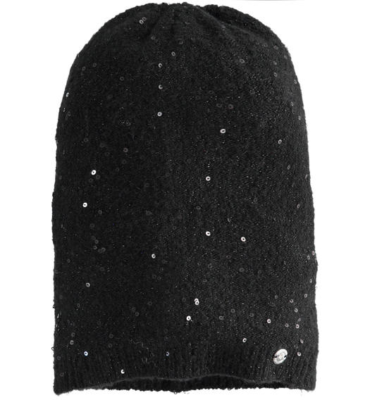 Beanie hat with micro sequins for girl from 6 to 16 years Sarabanda NERO-0658