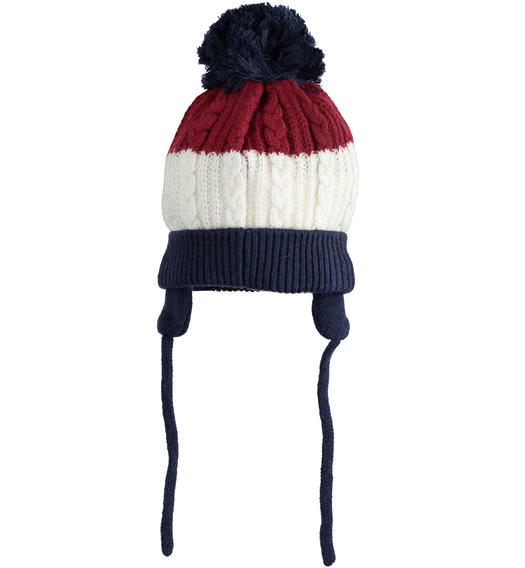 Minibanda beanie cap with pompom and ear flaps for newborn boy from 0 to 24 months NAVY-3854