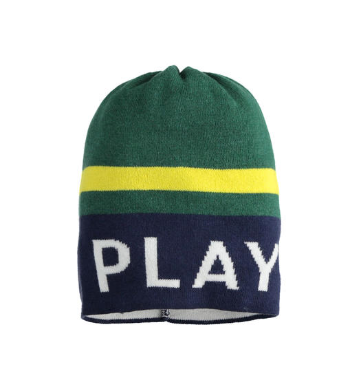 "Beanie hat with ""Play"" lettering for boy from 6 months to 7 years Sarabanda NAVY-3854"