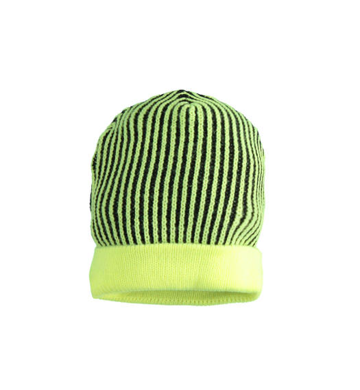 Ribbed knitted beanie hat for boy from 6 months to 7 years Sarabanda VERDE FLUO-5834