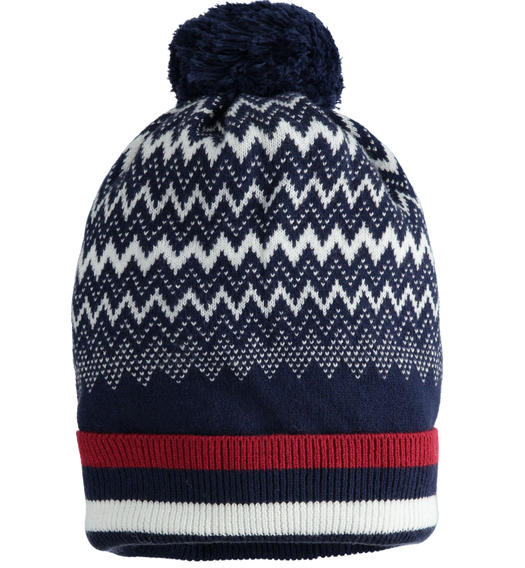 Jacquard hat with pompom for boy from 6 months to 7 years Sarabanda NAVY-3854