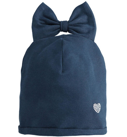Beanie hat for baby girl with bow from 6 months to 7 years Sarabanda NAVY-3885