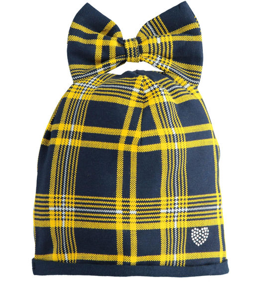 Beanie hat for baby girl with bow from 6 months to 7 years Sarabanda NAVY-GIALLO-6NP4