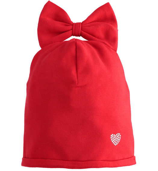 Beanie hat for baby girl with bow from 6 months to 7 years Sarabanda ROSSO-2253