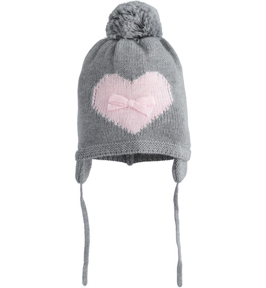 Beanie cap for newborn girl in tricot with ear flaps from 0 to 24 months Minibanda GRIGIO MELANGE-8867