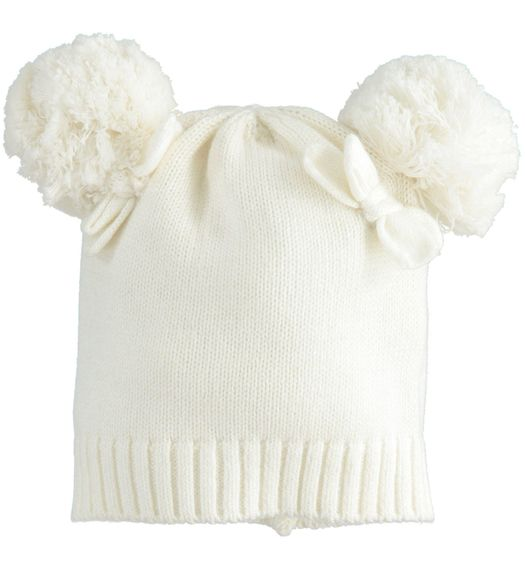 Newborn girl hat in tricot with pompom for newborn girl from 0 to 24 months Minibanda PANNA-0112