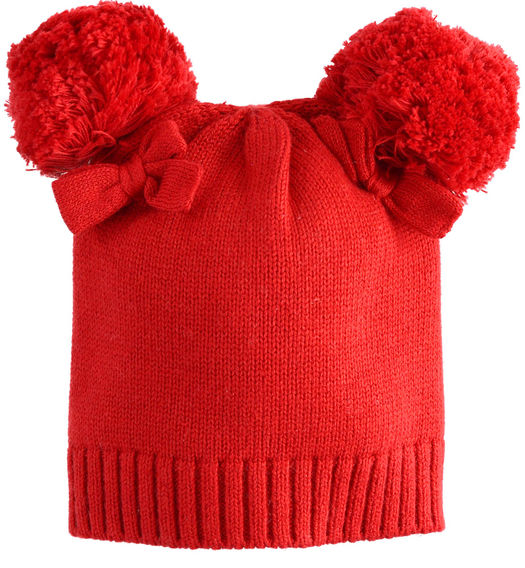 Newborn girl hat in tricot with pompom for newborn girl from 0 to 24 months Minibanda ROSSO-2253