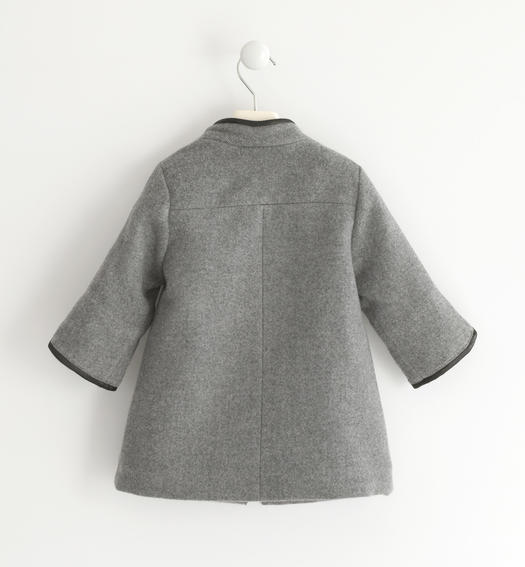 Coat made with eco leather trim for baby girls from 6 months to 7 years Sarabanda GRIGIO MELANGE-8992