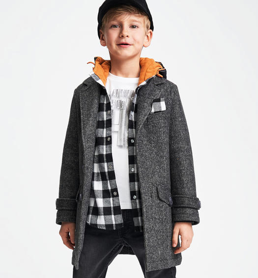 Soft hand wool blend coat for boys from 6 to16 years Sarabanda GRIGIO-0567