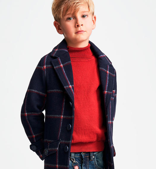 Soft hand wool blend coat for boys from 6 to16 years Sarabanda NAVY-3885