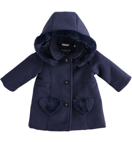Cloth coat for newborn girl with heart pockets from 0 to 24 months Minibanda NAVY-3854