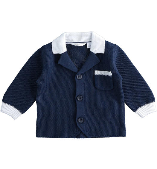 100% cotton baby boy blue cardigan with white contrasting details for baby boy from 0 to 24 months Minibanda NAVY-3854