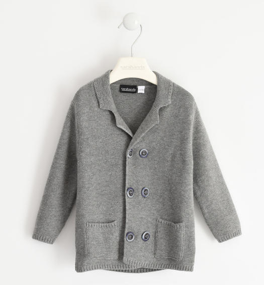 Cardigan with wood-effect buttons for boy from 6 months to 7 years GRIGIO MELANGE-8970