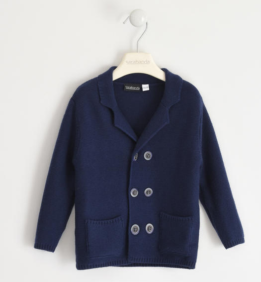 Cardigan with wood-effect buttons for boy from 6 months to 7 years NAVY-3854