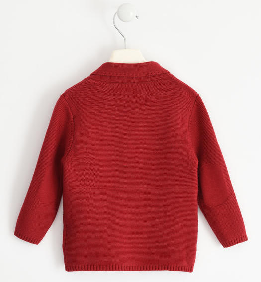 Cardigan with wood-effect buttons for boy from 6 months to 7 years ROSSO-2536