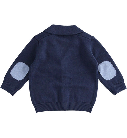 Newborn boy cardigan with patches from 0 to 24 months Minibanda NAVY-3854