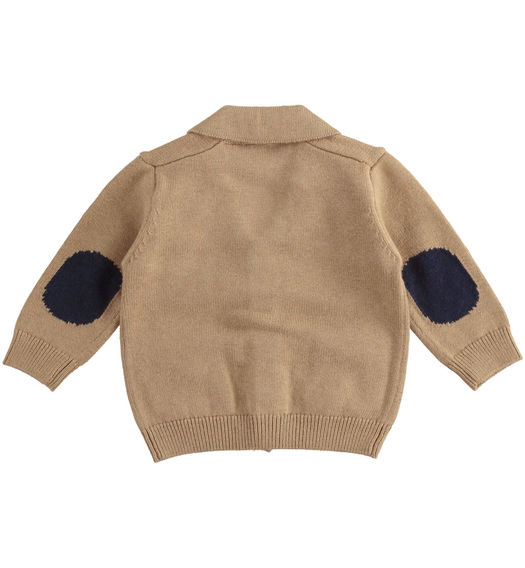 Newborn boy cardigan with patches from 0 to 24 months Minibanda NOCCIOLA-0937