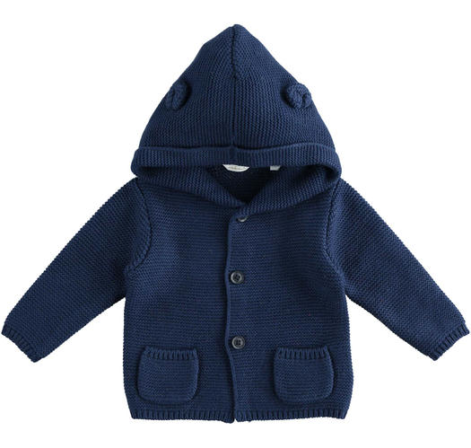 Newborn cotton and wool cardigan with hood from 0 to 24 months Minibanda NAVY-3854