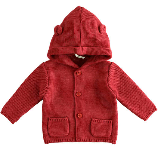 Newborn cotton and wool cardigan with hood from 0 to 24 months Minibanda ROSSO-2536
