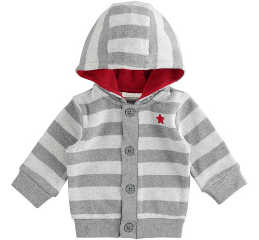 Warm stretch cotton newborn baby cardigan with fixed hood for newborn from 0 to 24 months Minibanda GRIGIO MELANGE-8993