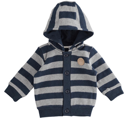 Warm stretch cotton newborn baby cardigan with fixed hood for newborn from 0 to 24 months Minibanda NAVY-3885