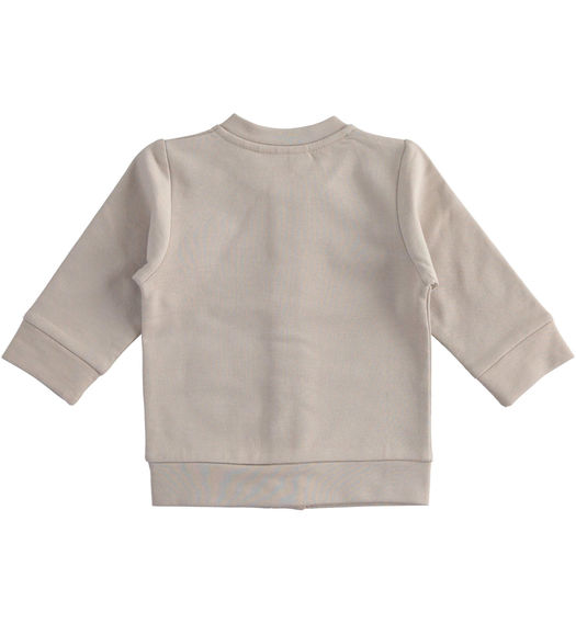 "100% organic cotton ""organic capsule"" fleece cardigan for newborns from 0 to 24 months Minibanda BEIGE-0437"
