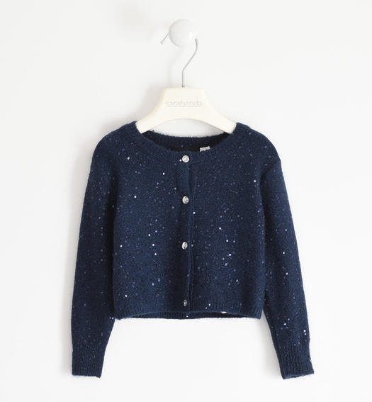 Polka dot tricot cardigan for girl from 6 months to 7 years Sarabanda NAVY-3885