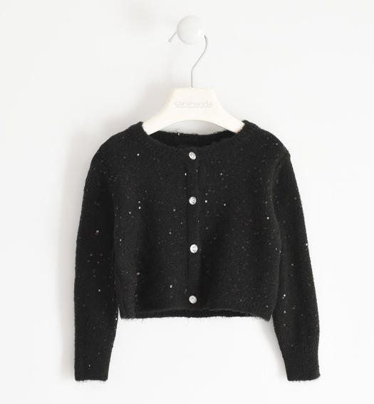 Polka dot tricot cardigan for girl from 6 months to 7 years Sarabanda NERO-0658
